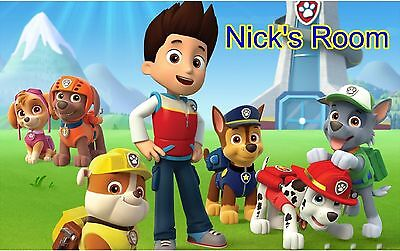 Paw Patrol & Personalized Name Wall Sticker Wall Mural 3FT