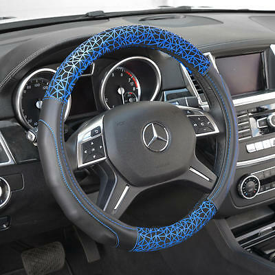 Synth Leather Car Steering Wheel Cover Black w/ Blue Web Graffiti Comfort Grip