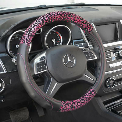 Pink Fractal Pattern on Black PU Leather Steering Wheel Cover for Car Auto SUV