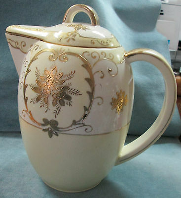 "Antique Gold Decorated 1920's 8 3/4"" H X 8 1/2"" L X 5 1/4"" D Lemonade Pitcher"