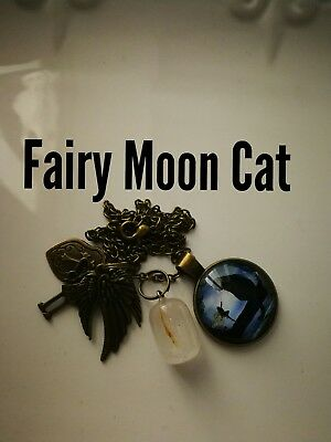 Code 484 Fairy Moon Cat Quartz Infused Necklace I am certified by Doreen Virtue