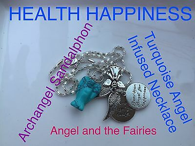 00057 HEALTH HAPPINESS Howlite Angel Infused Necklace Archangel Sandalphon