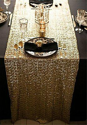 """TPLYC 12""""*108"""" Gold Sequin Table Runner, Sequin Table Cloth, Sequin Tablecloths,"""