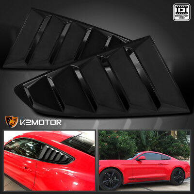15-18 Ford Mustang GT V6 Glossy Black Quarter 1//4 Side Window Louver Scoop Cover