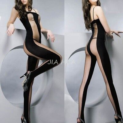 Charm Lady Lingerie Open Crotch Crotchless Fishnet Mesh Stocking Bodystocking AY