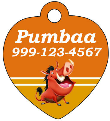 Disney Lion King Pumbaa Pet Id Tag for Dogs & Cats Personalized w/ Name & Number