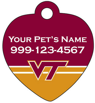 Virginia Tech Hokies Pet Id Tag for Dogs & Cats Personalized w/ Name & Number