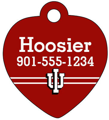 Indiana Hoosiers Pet Id Tag for Dogs & Cats Personalized w/ Name & Number