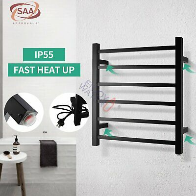Square Stainless Electric Heated Towel Rail Rack Square Wall Mounted 6 Bar Black