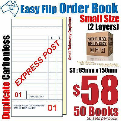 50x Small Size Duplicate Carbonless Restaurant Docket Order Book 85x150mm