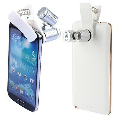 For All Smart Phone Universal 60X Zoom 3 LED Microscope Magnifier Micro Lens
