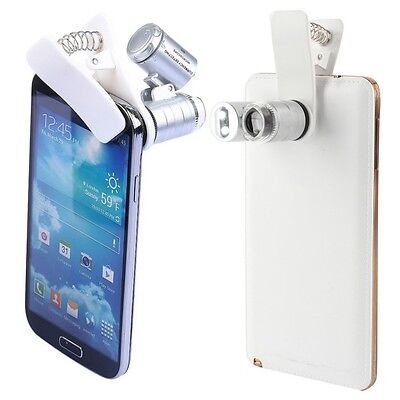 60X Zoom LED Clip-On Microscope Magnifier Micro Lens For Universal Mobile NEW