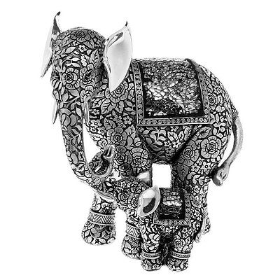 Rococo Silver Jumbo Elephant With Baby Figure Ornament Figurine Gift Boxed