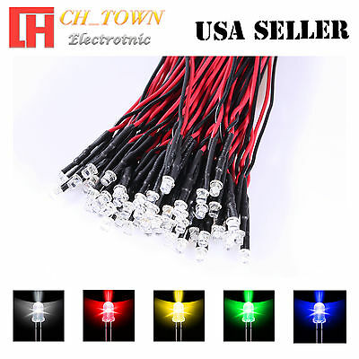 5x5 25pcs 3mm Flat Top Pre-Wired White Red Blue Light DC 9-12V LED Mix Kits