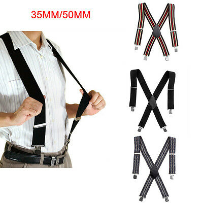 35/50Mm Adjustable Braces Mens Woemns Unisex Trouser Elastic Suspenders Clip On