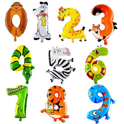 Hot Hot 0-9 Inflatable Animal Number Foil Balloon For Wedding Party Baby Toys