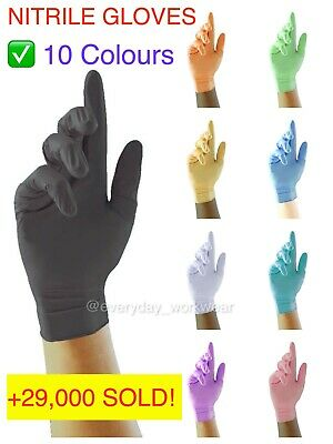 100 Black Nitrile Disposable Gloves Powder Latex Free Mechanic Tattoo Valeting