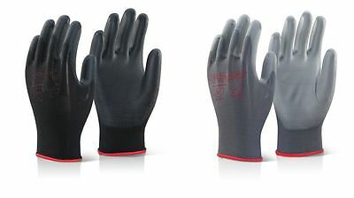 10 PAIRS x CLICK 2000 PUGGY PU COATED PRECISION GLOVES - BLACK/GREY (ALL SIZES)