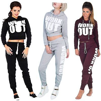 Womens Work Out Sweat  Crop Hoodie Ladies Jogging Bottoms Tracksuit Set
