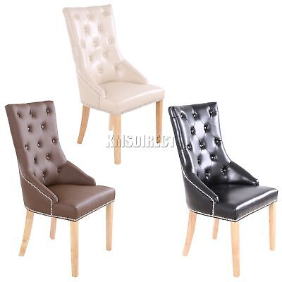 FoxHunter PU Dining Chair Scoop Button Back With Chrome Studs Office Seat PU02