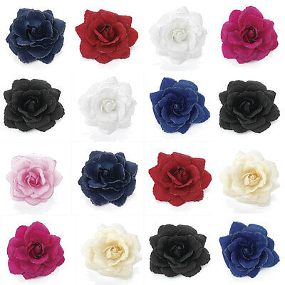 Glitter Rose Flower Feather Hair Elastic Corsage Fascinator Clip ALL COLOURS 11