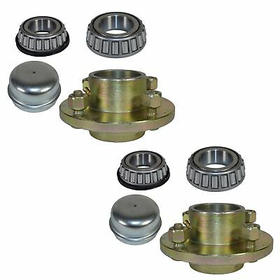 """Pair Of Trailer Cast Wheel Hub 4"""" PCD  1"""" Taper Bearing 4 Stud With Nuts And Cap"""