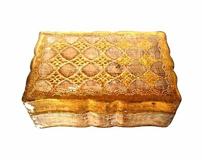 ITALIAN Florence Toleware Plaster Wood Gold Leaf Trinket Jewelry Box Italy