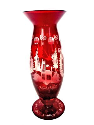EGERMANN Czech Bohemian Ruby Cranberry Glass Etched Flower Vase Antique Vintage