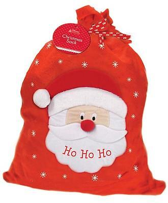 Large Santa Face HO HO HO Red & White Christmas Sack