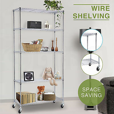 Adjustable 5 Tier Layer Shelf Steel Wire Metal Shelving Rack Chrome  w/Wheels