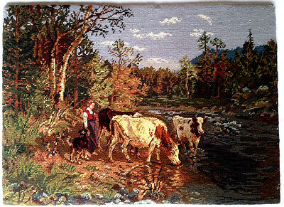 VICTORIAN 'Cow Herding By The River' Petit Point Needlepoint Antique Woman Dog