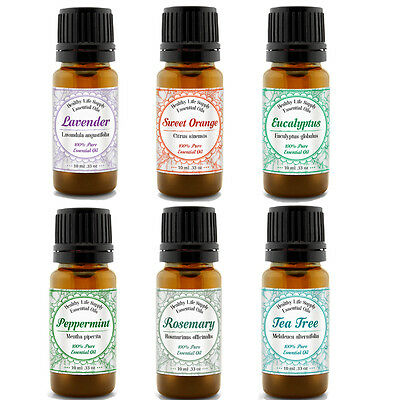Essential Oil Set 6 Pack 100% Pure Natural Therapeutic Grade Oils 10ml Each