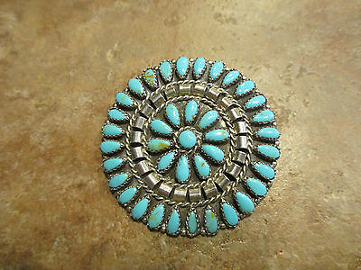 Vintage Zuni Sterling Silver PETIT POINT Turquoise Pin Signed MB
