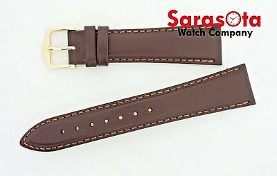 HIRSCH Brumby Leather 20mm Regular Brown Stitched Water Resistant Watch Band