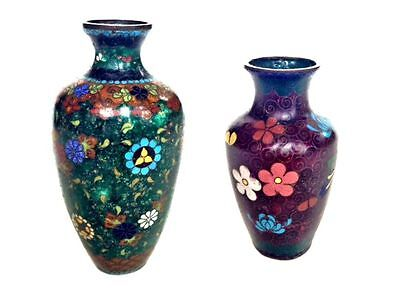JAPANESE Butterfly & Floral Cloisonne Metal Small Miniature Vases Mini