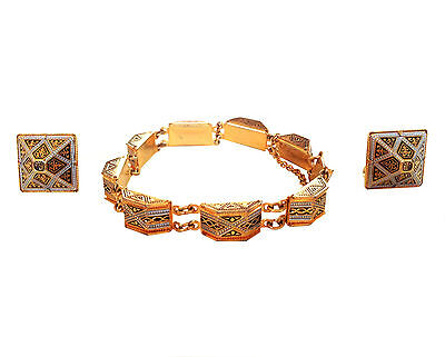 ART DECO Style Gold Box Link Bracelet & Earrings Set Enameling