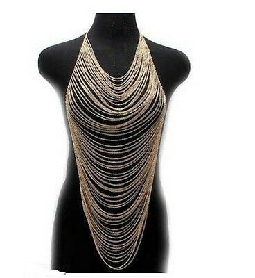 UK Women Harness Crossover Body Chain Necklace