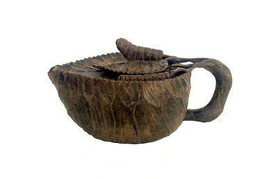 RARE CHINESE Hand Carved Gray Leaf Stone Teapot