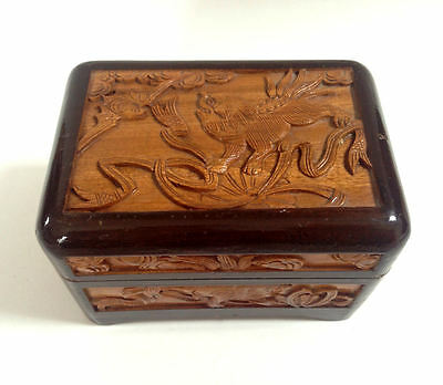 CHINESE Carved Wood Lucky Bat Tiger Foo Dog Wooden Lidded Wedding Box
