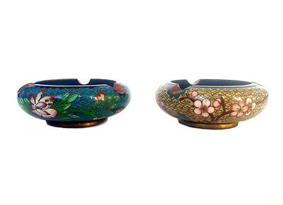 CHINESE CLOISONNE Blue & Yellow Floral Ashtrays (x2)
