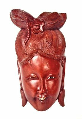CHINESE Wood Carved Mask Glass Eye Bone Rosewood Laughing Woman China Antique