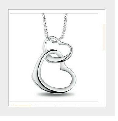 Love Forever Double Heart Pendant Necklace Sterling Silver Chain Gift Box K36