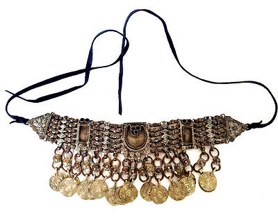 TURKMAN Tribal Wedding Headdress Middle Eastern Bedouin Belt Necklace Silver