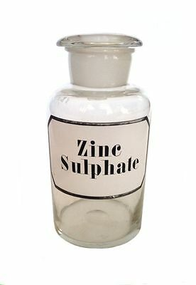 ZINC SULPHATE Apothecary Blown Glass Jar Bottle Hand Painted Label Chemical