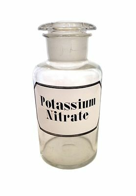 POTASSIUM NITRATE Apothecary Blown Glass Jar Bottle Hand Painted Chemical