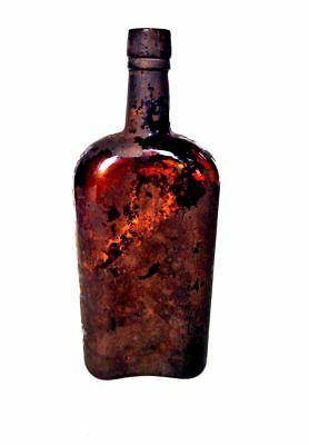 AMBER BROWN Glass Whiskey Flask Bottle Unlabeled