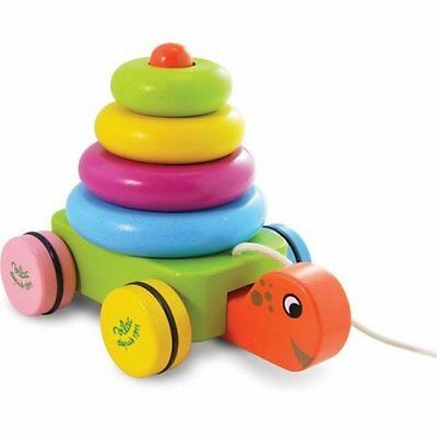 NEW Innovative Design Kids Fun Colourful Turtle Stacker Pull Along Toy by Vilac