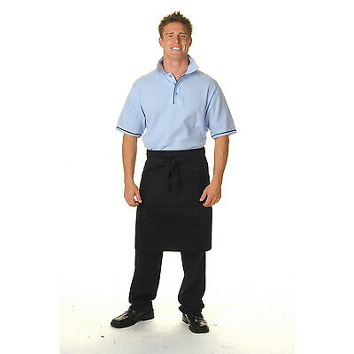 2 x  Chef Waiter Waitress Service DNC Half Black Apron with pockets - BRAND NEW