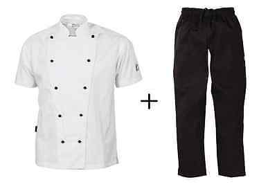 Chef Jacket White Short Sleeve DNC Trad + Black Elastic Drawstring Pants DNC