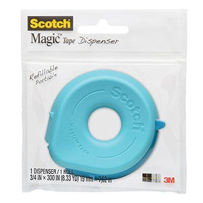 Scotch Dispenser with Magic Tape, 3/4 x 300 Inches, 1-Roll 156 Colors May Vary